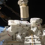 In a different shot, we again see astronauts Tom Marshburn (this time he's making an appearance) and Christopher Cassidy hard at work, spacewalking on the space station. Image Credit: NASA