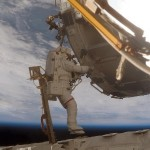 Mission specialist Scott Parazynski takes part in a spacewalk during construction on the International Space Station. He spent six hours and 33 minutes out there alongside a flight engineer, Daniel Tani, working on upgrades to the space station. Image Credit: NASA