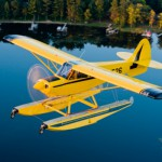Instead of wheels, this type of plane is equipped with huge skis that allow it to land on water.