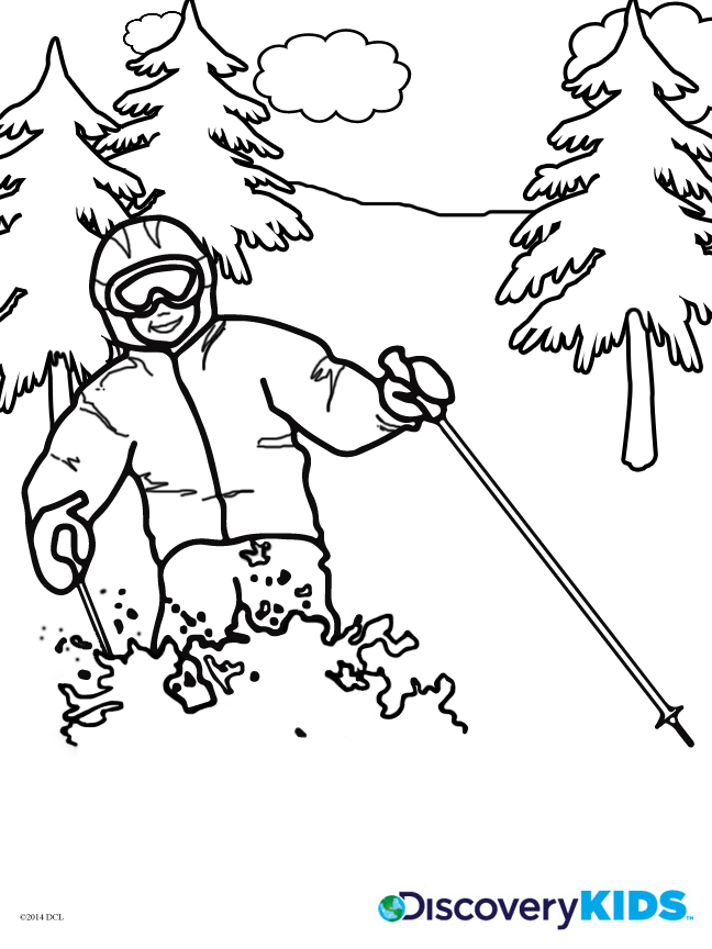 skiing coloring pages